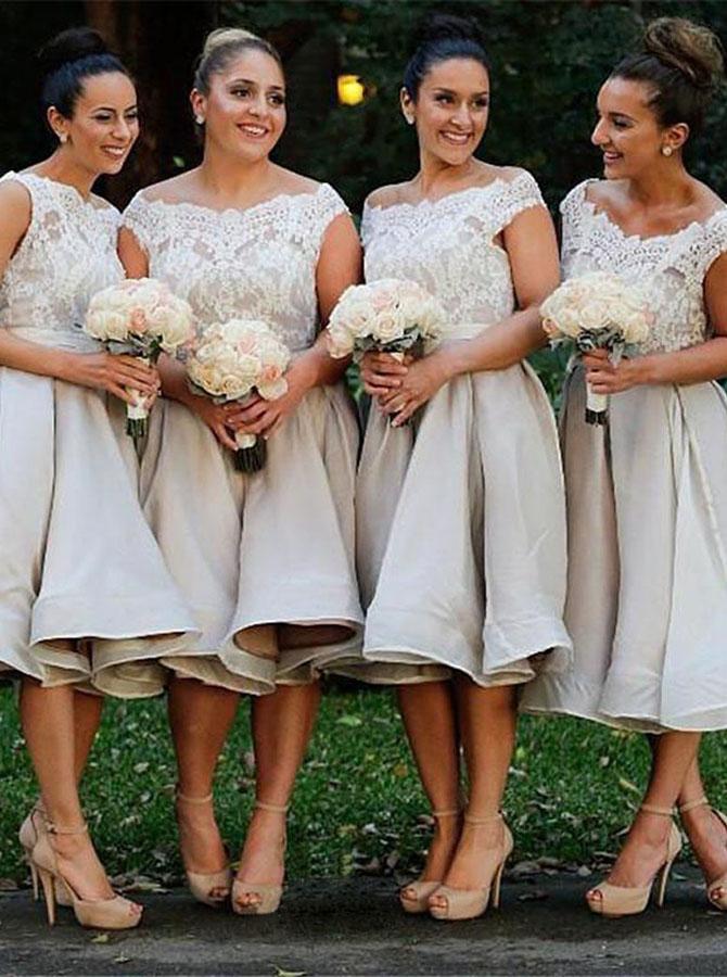 Stunning Off Shoulder Cap Sleeves Mid-Calf Light Grey Organza Bridesmaid Dress with Lace
