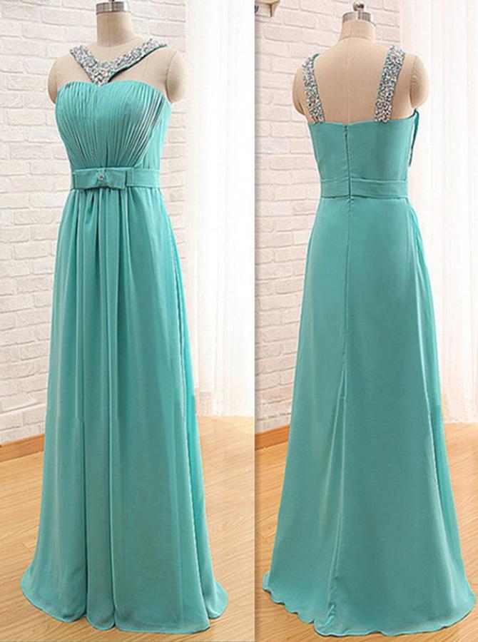 Stylish V-neck Floor-Length Turquoise Bridesmaid Dress with Beading Bow фото