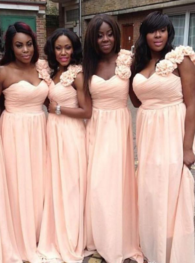 Glamorous One Shoulder Sweep Train Pink Bridesmaid Dress with Flowers Ruched