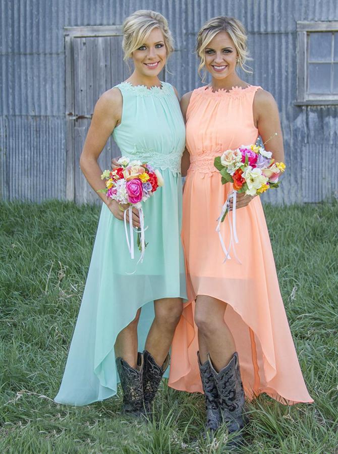 Delicate Bateau Sleeveless Asymmetry Mint/Peach Bridesmaid Dress with Appliques фото