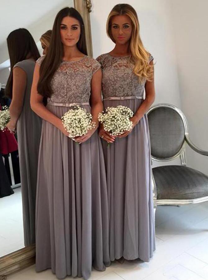 Stunning Bateau Cap Sleeves Floor-Length Grey Bridesmaid Dress with Sash Lace Top фото