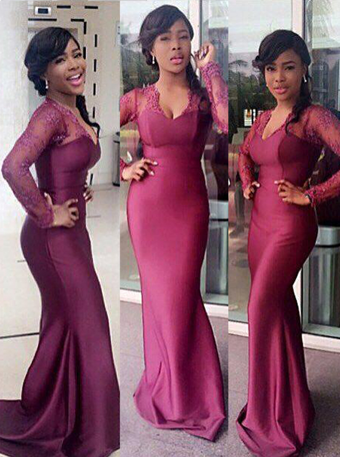 High Quality V-neck Long Sleeves Sweep Train Mermaid Bridesmaid Dress with Lace Top, Grape
