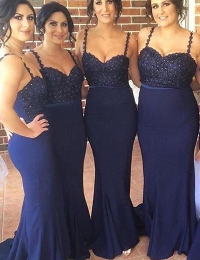 Glamorous Spaghetti Straps Sleeveless Beading Mermaid Long Bridesmaid Dress фото