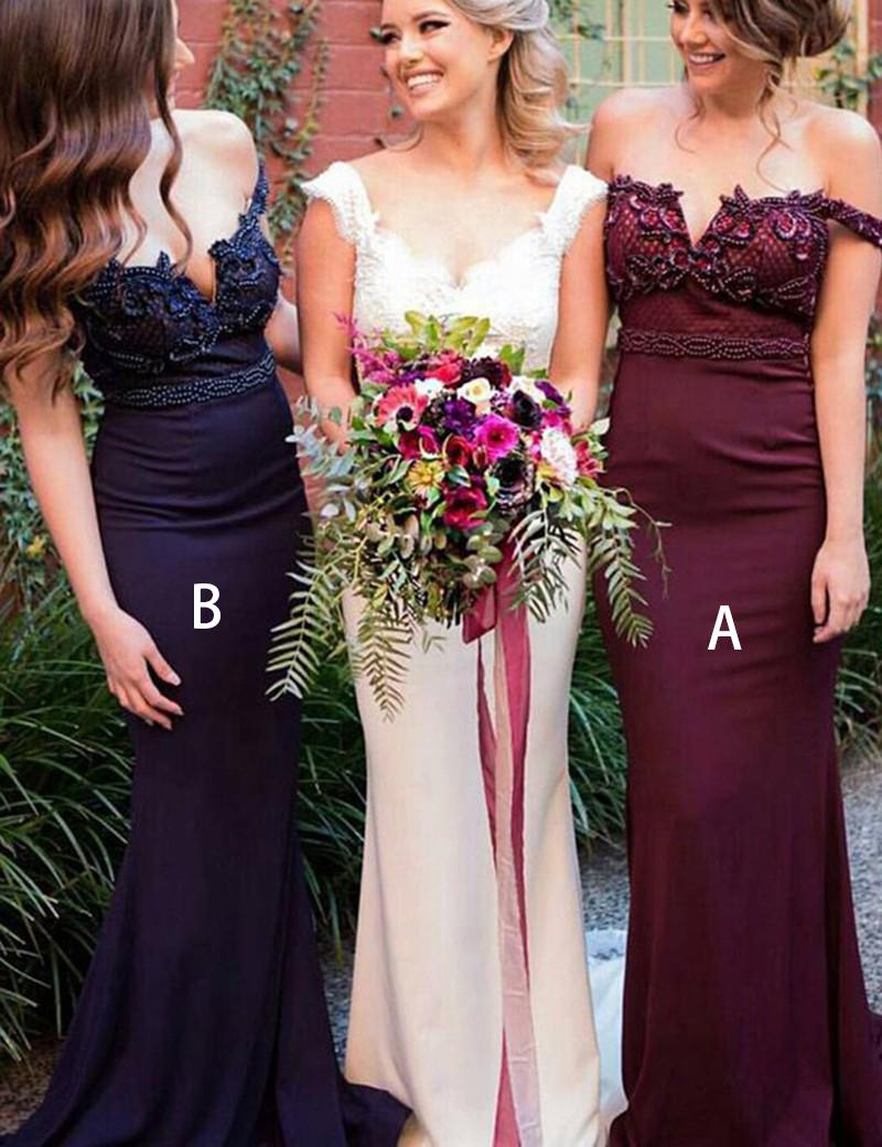 Stunning Off Shoulder Sweep Train Burgundy Mermaid Bridesmaid Dress with Beading