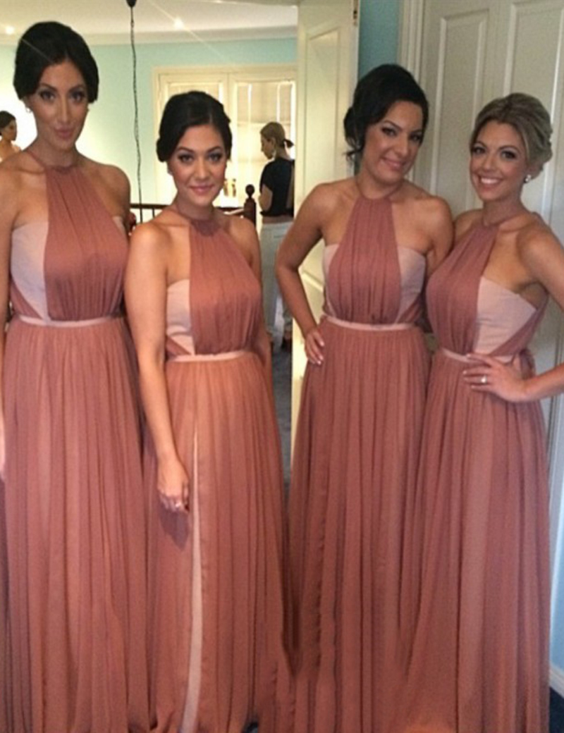Special Crew Neck Sleeveless Floor Length Ruched Blush Bridesmaid Dress with Sash фото