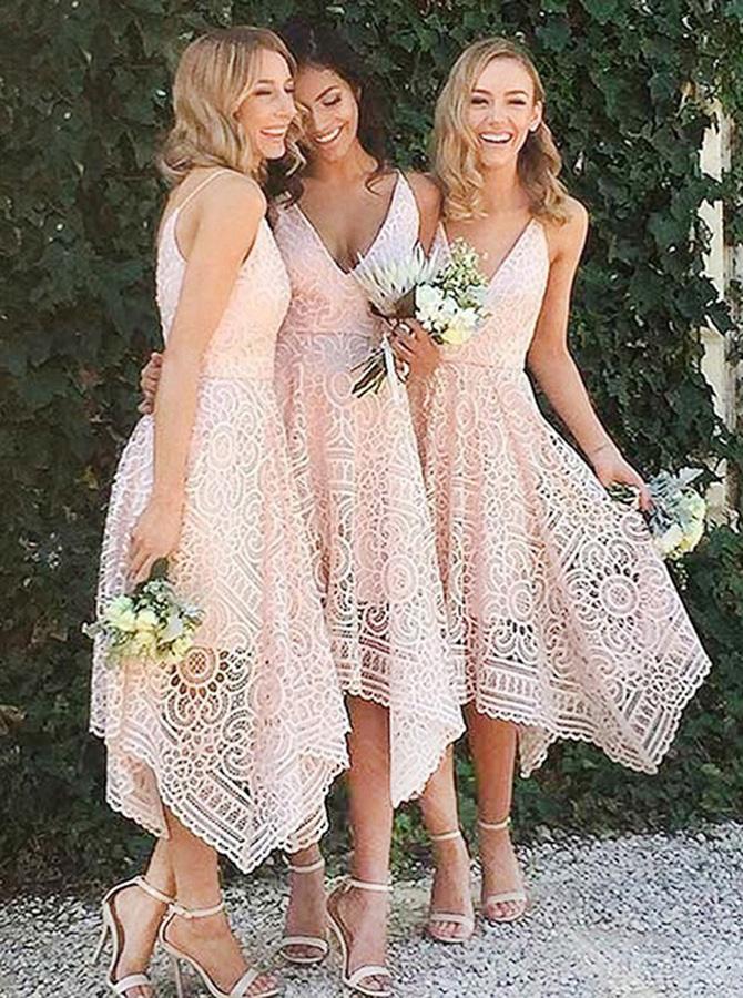 A-Line V-Neck Asymmetrical Pearl Pink Lace Bridesmaid Dress фото