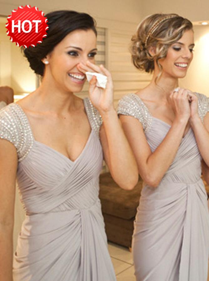 Bodycon Scoop Cap Sleeves Light Grey Bridesmaid Dress with Beading