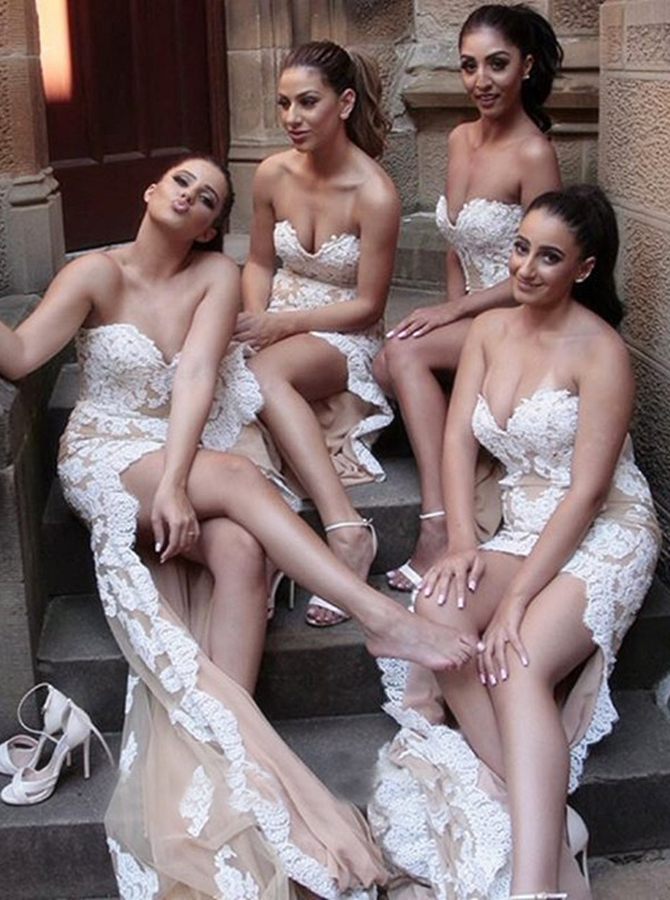 Sheath High Low Sweetheart Champagne Tulle Bridesmaid Dress with Appliques фото