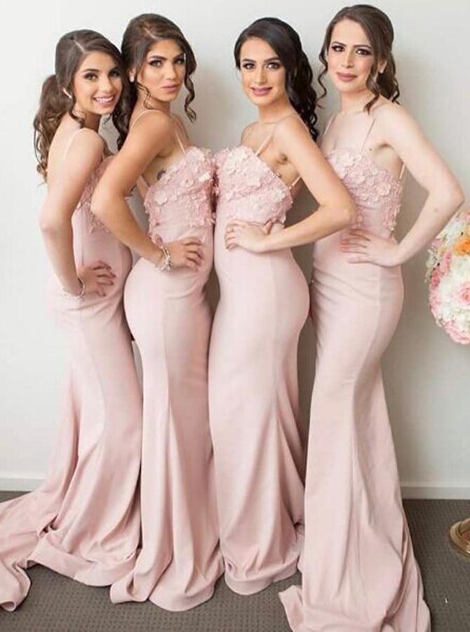 Mermaid Spaghetti Straps Pink Stretch Satin Bridesmaid Dress with Appliques фото
