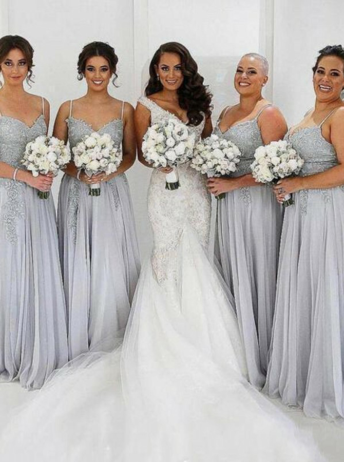 A-Line Spaghetti Straps Grey Tulle Bridesmaid Dress with Appliques