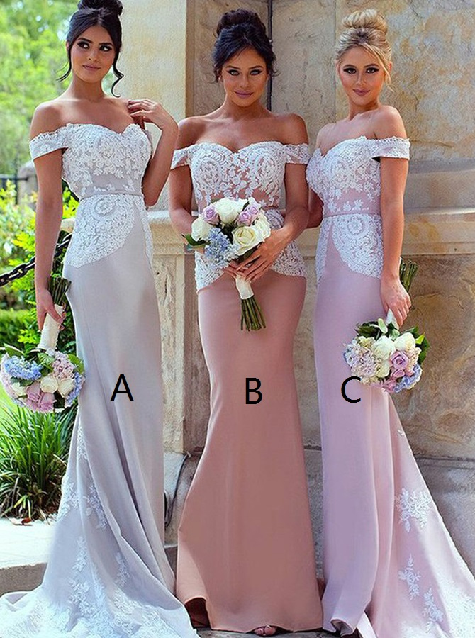 Mermaid Off-the-Shoulder Sweep Train Bridesmaid Dress with Sash Lace фото