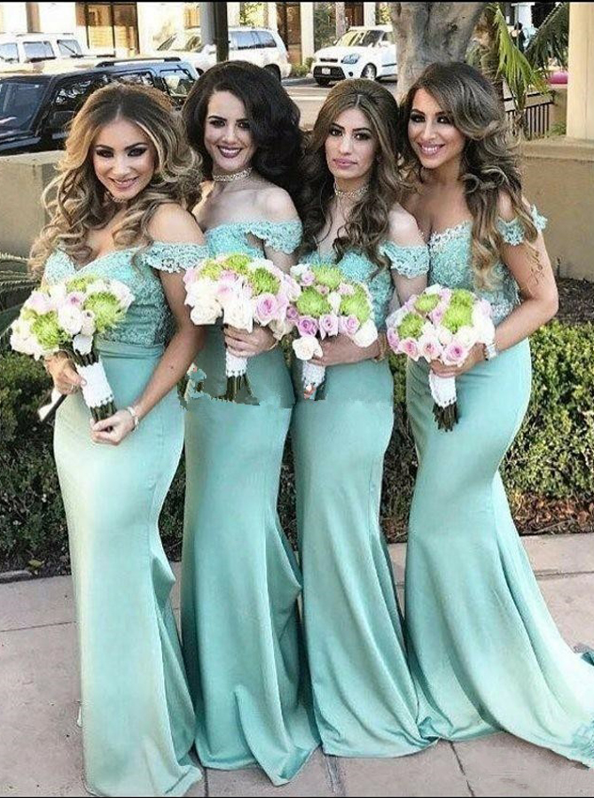 Mermaid Off-the-Shoulder Sweep Train Mint Green Bridesmaid Dress with Lace фото