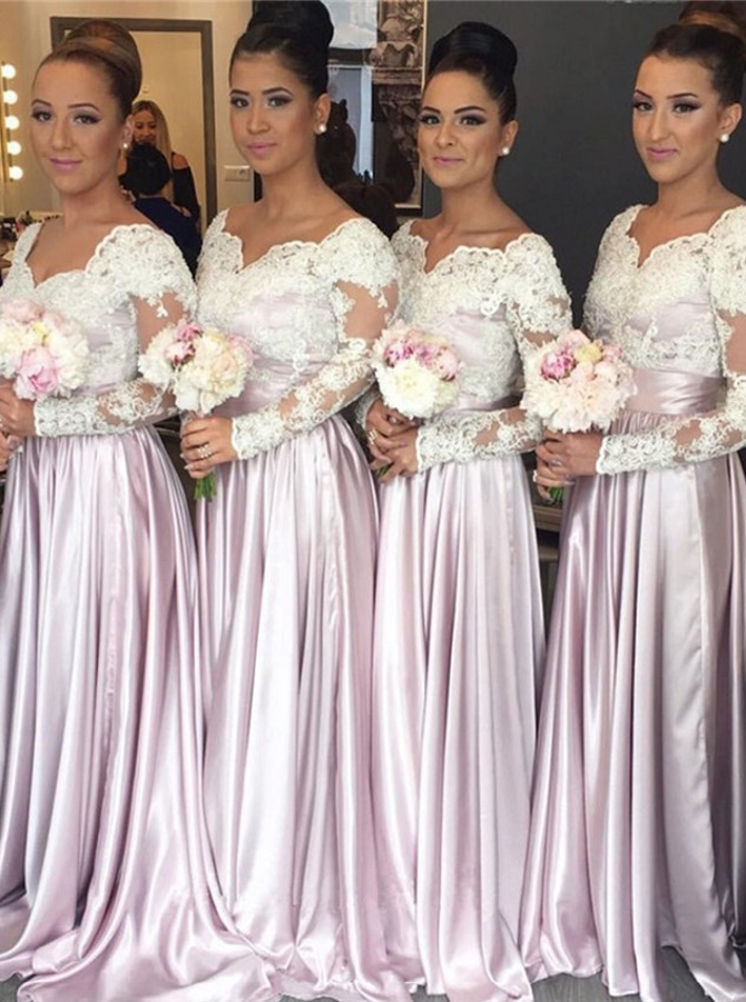 A-Line Scoop Long Sleeves Lilac Satin Bridesmaid Dress with Lace фото