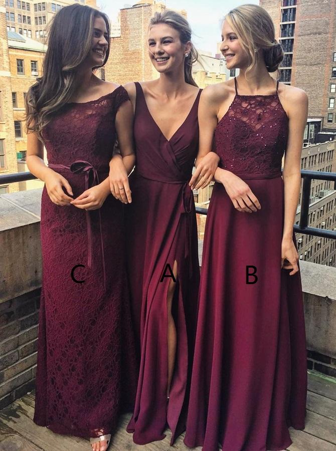 A-Line V-Neck Floor-Length Grape Chiffon Bridesmaid Dress wtih Split