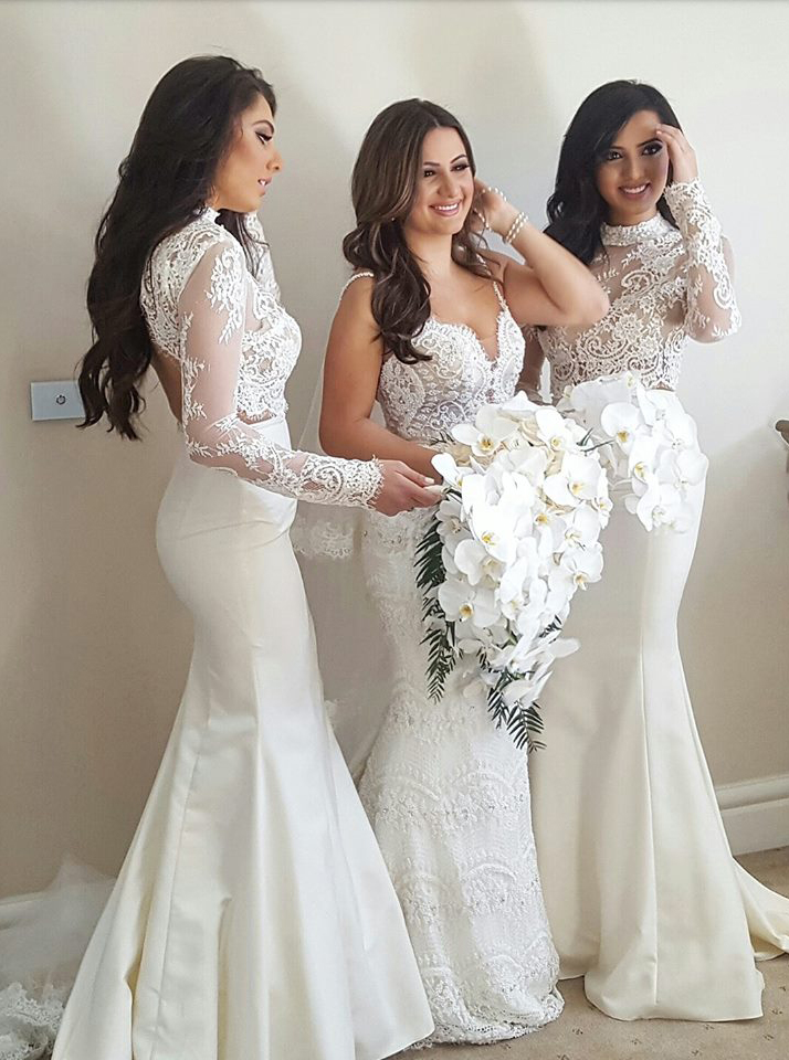 Mermaid High Neck Long Sleeves Sweep Train Ivory Bridesmaid Dress with Lace фото