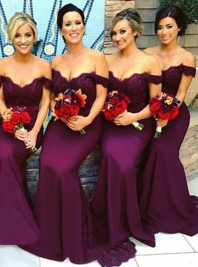 Mermaid Off-the-Shoulder Grape Elastic Satin Bridesmaid Dress with Lace фото