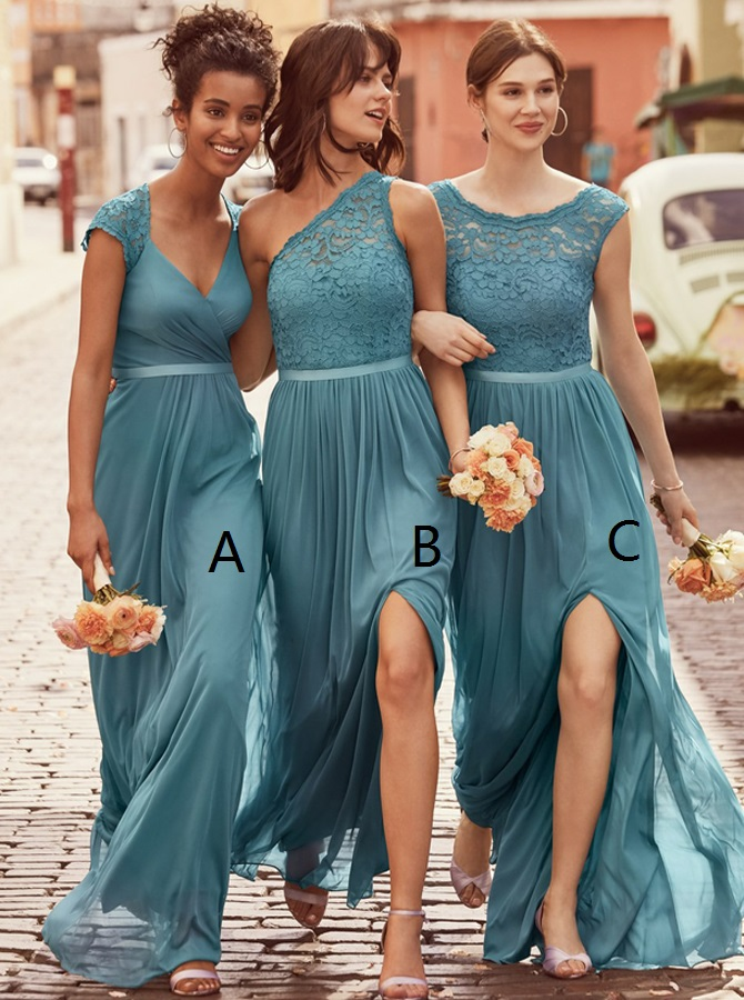 A-Line Scoop Floor-Length Ice Blue Chiffon Bridesmaid Dress with Lace фото