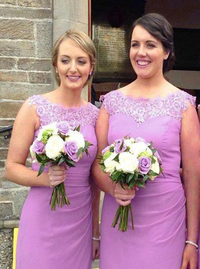 Sheath Bateau Cap Sleeves Ruched Bridesmaid Dress with Appliques фото