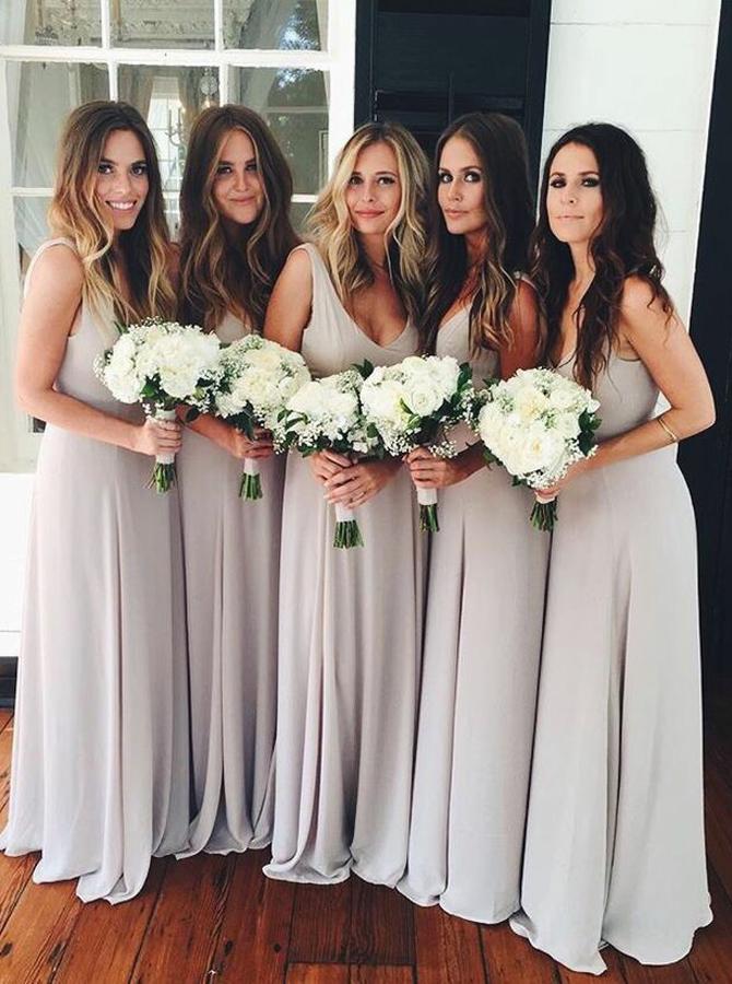 A-Line Scoop Floor-Length Light Gray Chiffon Bridesmaid Dress фото