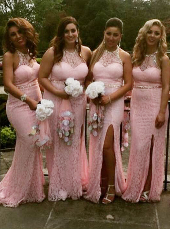 Sheath Round Neck Sweep Train Pink Lace Split Sequins Bridesmaid Dress фото