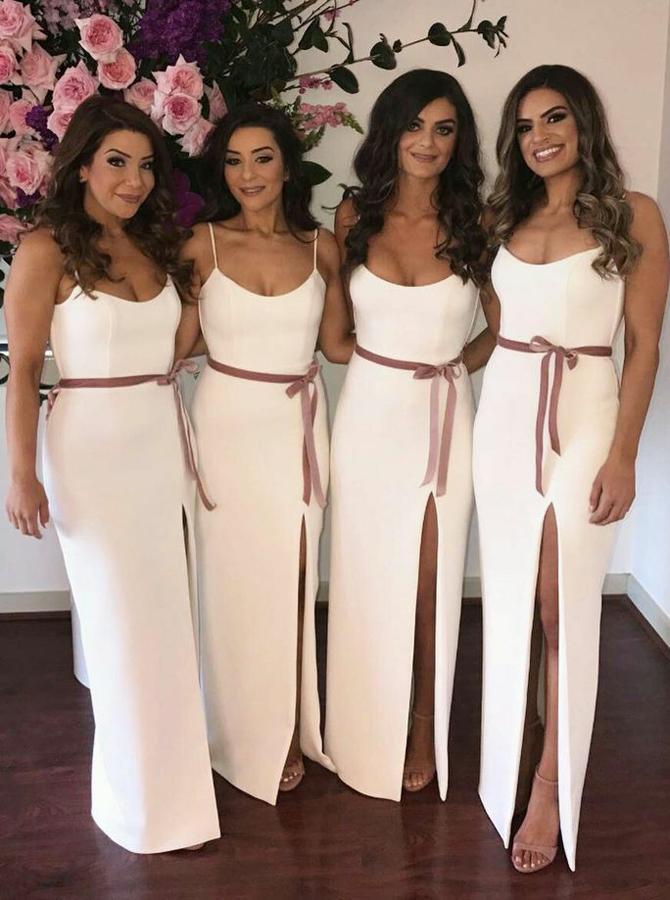 Sheath Spaghetti Straps Floor-Length Split Bridesmaid Dress with Sash фото