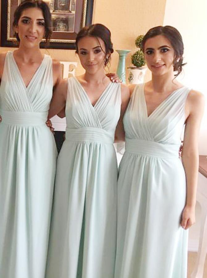 4f31fe40b75 3) A-Line V-Neck Floor-Length Light Blue Chiffon Pleated Bridesmaid Dress