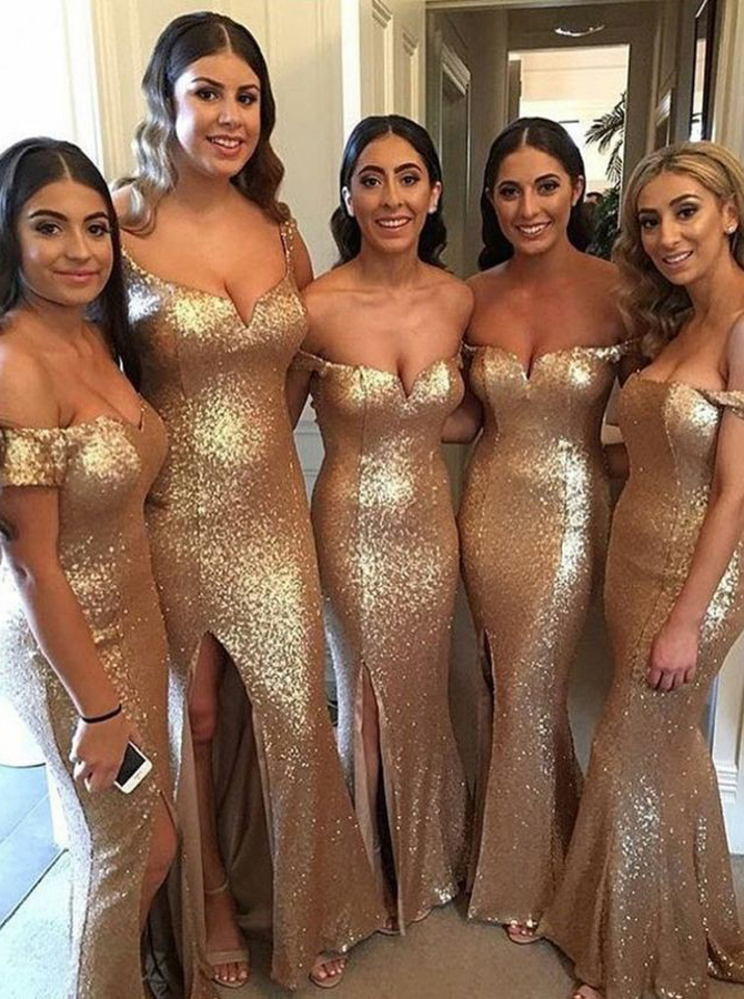 Mermaid Off-the-Shoulder Champagne Sequined Bridesmaid Dress with Split фото