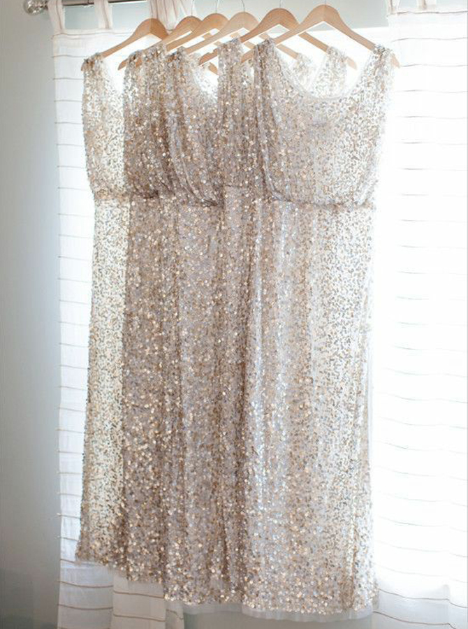 Sheath Bateau Ankle-Length Light Champagne Sequined Bridesmaid Dress фото