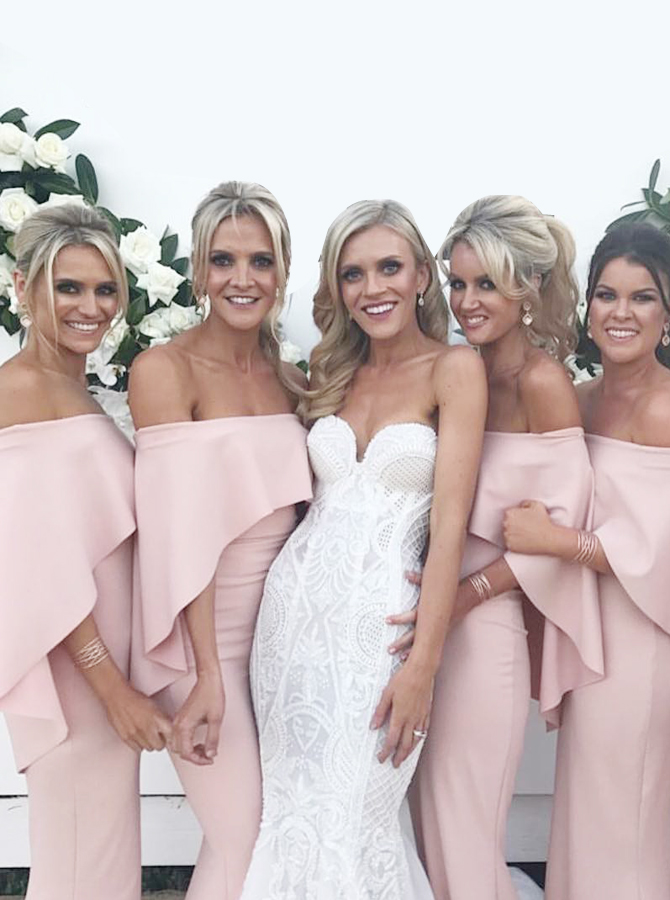 Mermaid Strapless Sweep Train Pink Elastic Satin Bridesmaid Dress with Ruffles фото