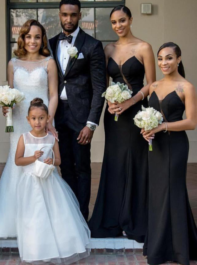 Sheath Sweetheart Sweep Train Black Elastic Satin Bridesmaid Dress фото