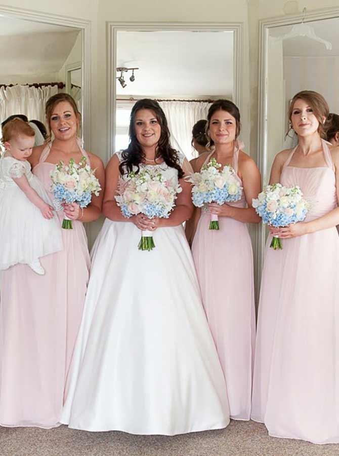 A-Line Halter Sweep Train Pink Chiffon Bridesmaid Dress