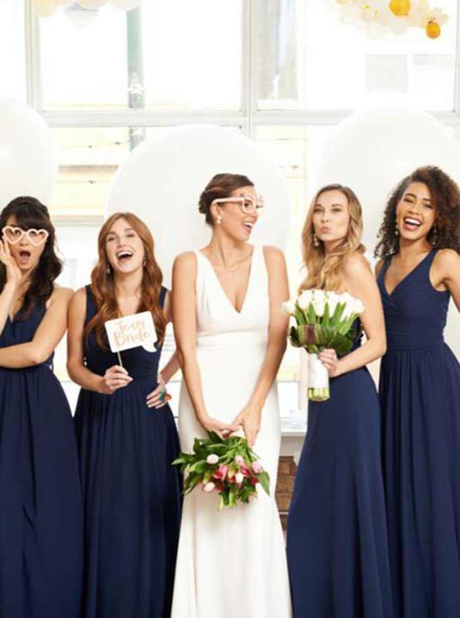 A-Line Scoop Sleeveless Navy Blue Chiffon Bridesmaid Dress фото