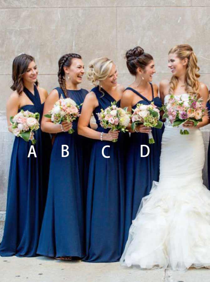 A-Line Halter Pleated Dark Blue Chiffon Bridesmaid Dress фото