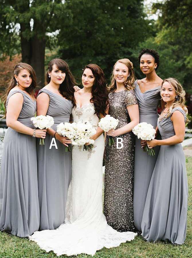 A-Line V-Neck Ruched Grey Chiffon Bridesmaid Dress фото