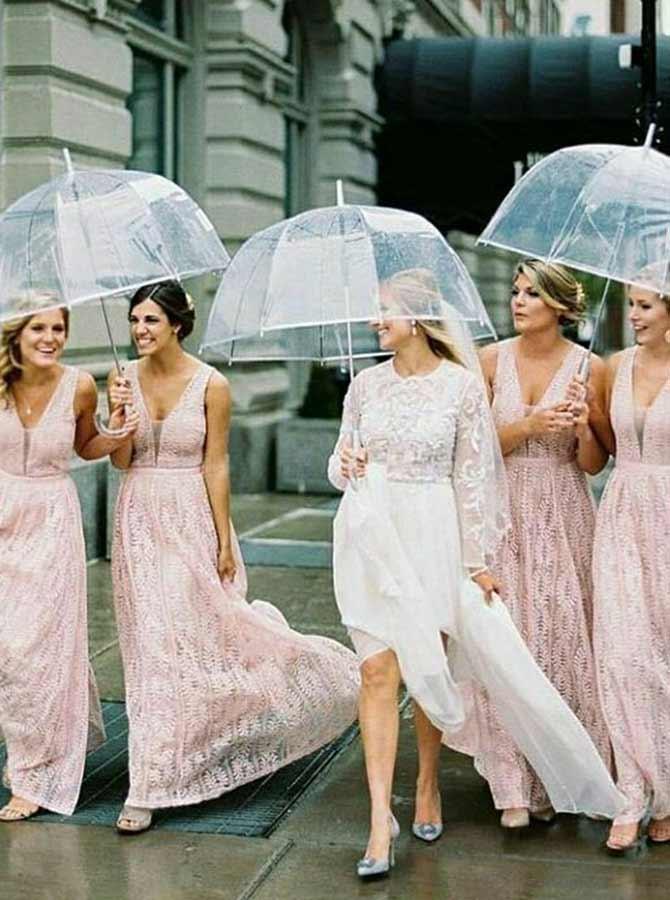 A-Line V-Neck Sleeveless Lace Pink Lace Bridesmaid Dress фото