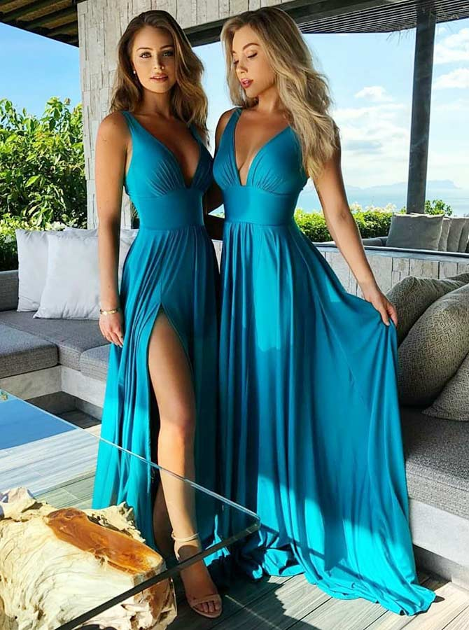 A-Line V-Neck Turquoise Satin Bridesmaid Dress with Split фото