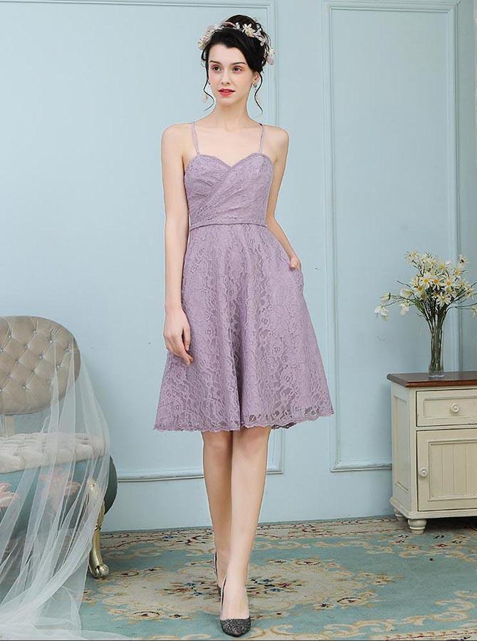A-Line Spaghetti Straps Knee Length Purple Lace Bridesmaid Dress фото