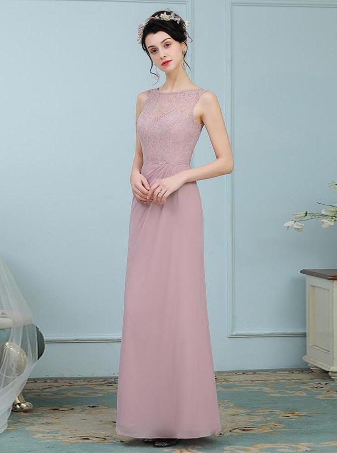 A-Line Round Neck Blush Chiffon Bridesmaid Dress with Lace фото
