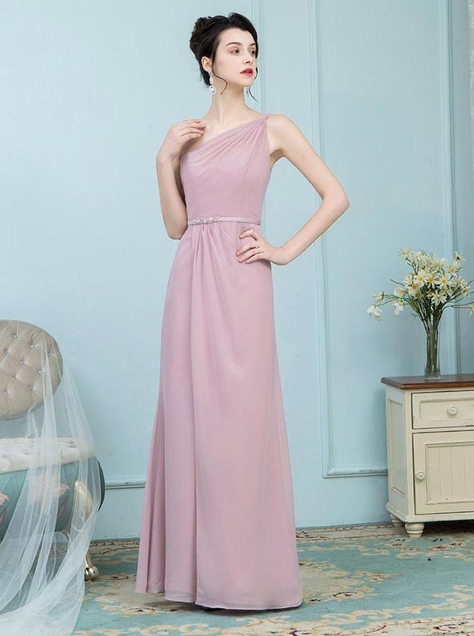 A-Line One Shoulder Blush Chiffon Bridesmaid Dress with Belt фото