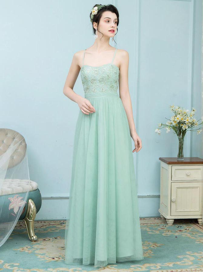 A-Line Spaghetti Straps Mint Green Tulle Bridesmaid Dress with Lace фото