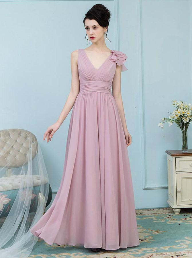 A-Line V-Neck Blush Chiffon Bridesmaid Dress with Ruffles фото