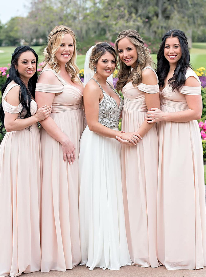 Simple-dress / A-Line Cold Shoulder Pink Chiffon Bridesmaid Dress with Pleats