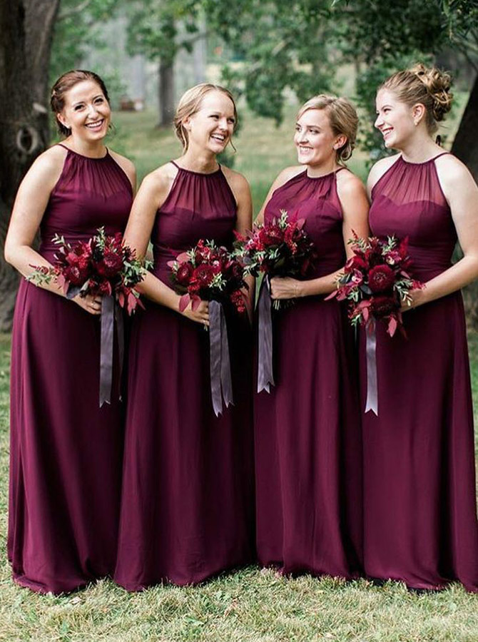A-Line Halter Floor Length Dark Red Chiffon Bridesmaid Dress фото