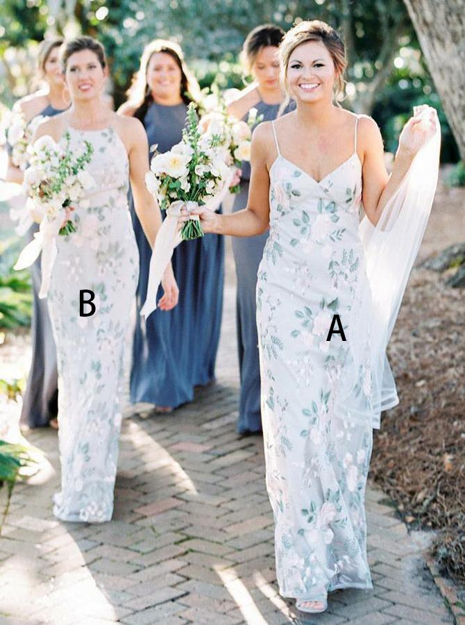 Sheath Spaghetti Straps Light Blue Floral Chiffon Bridesmaid Dress фото