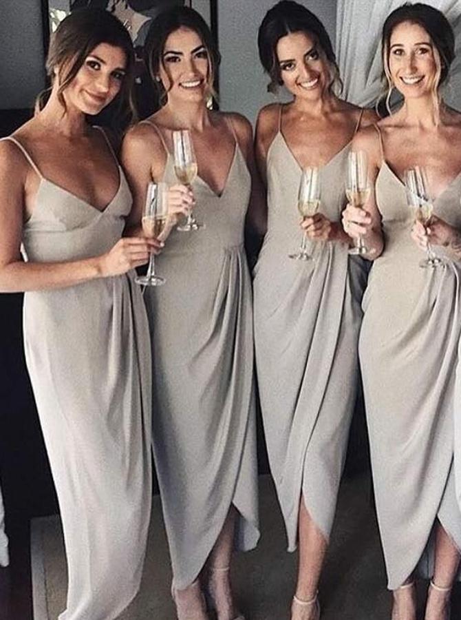 Sheath Spaghetti Straps Sleeveless Grey Satin Bridesmaid Dress фото