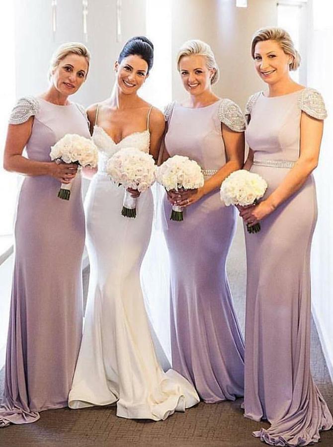Mermaid Bateau Lilac Spandex Bridesmaid Dress with Beading фото