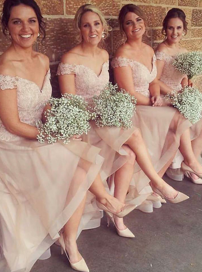 A-Line Off-the-Shoulder Blush Tulle Bridesmaid Dress with Lace