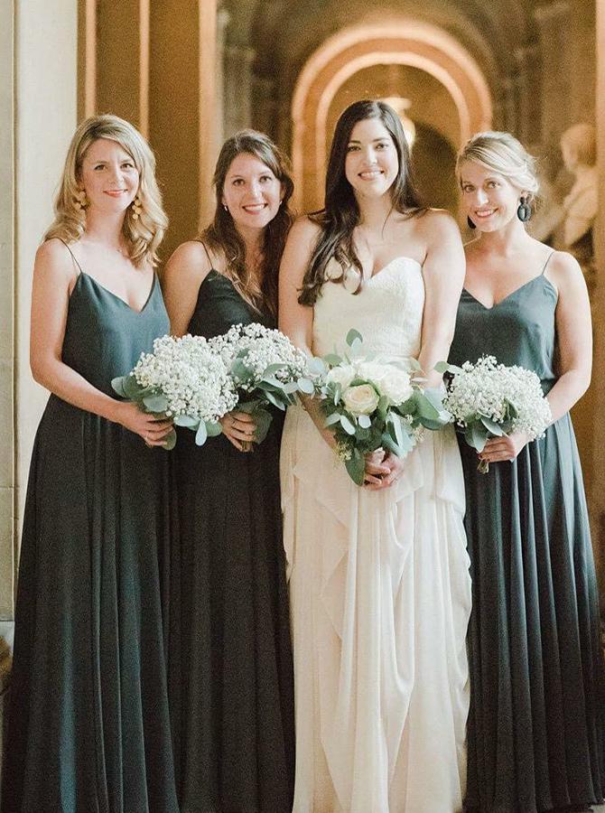 A-Line Spaghetti Straps Pleated Dark Green Chiffon Bridesmaid Dress фото