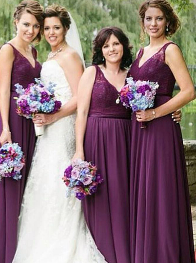 A-Line V-Neck Grape Chiffon Bridesmaid Dress with Lace фото