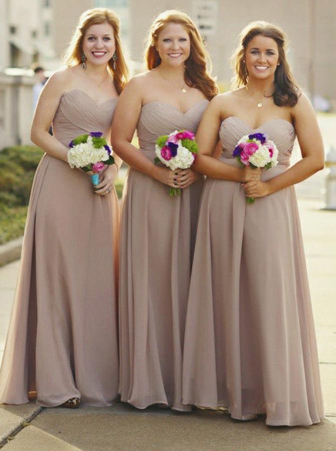 Simple-dress / A-Line Sweetheart Grey Chiffon Bridesmaid Dress with Pleats